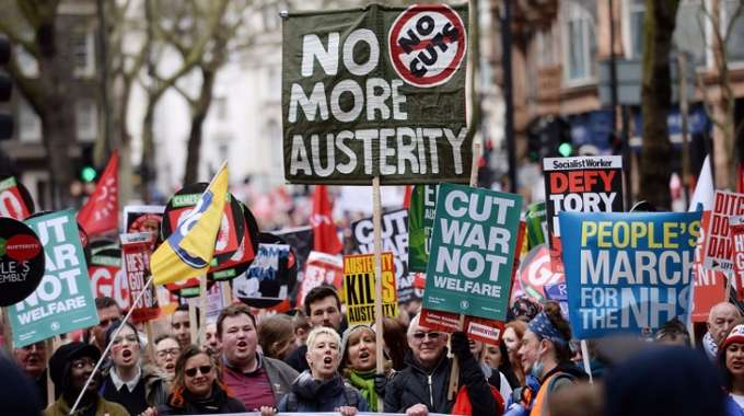 An anti-austerity demonstration in central London in April 2016 drew thousands. But what, the elites wonder, are they all so angry about? (Photograph: Stefan Rousseau/PA)