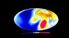 Changes measured by the Swarm satellite over the past 6 months shows that Earth's magnetic field is changing. Shades of red show areas where it is strengthening, and shades of blue show areas that are weakening.  Credit: ESA/DTU