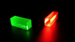 These crystals captured and stored quantum information at the end of the teleportation. Credit: GAP, University of Geneva (UNIGE)