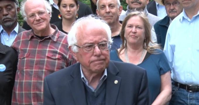 """At a press conference in Burlington, Vermont on Sunday, Sanders called for a """"50-state strategy to revitalize American democracy at the local, state and federal level."""" (Screenshot)"""