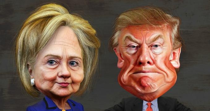 Caricatures of Hillary Clinton and Donald Trump.  (Photo: DonkeyHotey/flickr/cc)