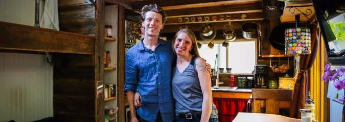 Young Couple Makes a MUST SEE DYI Tiny Home with Salvaged Materials and for Just 17K