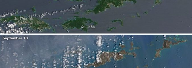 Hurricane Irma Turned the Caribbean Islands from Green to Brown
